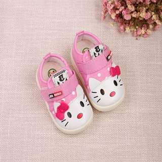 Casual Kitten Applique Canvas Shoes With Light for Toddler Girl