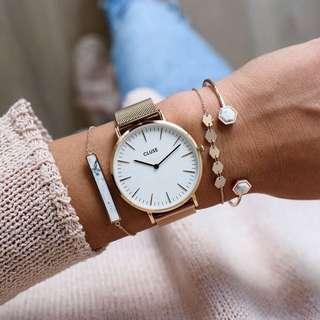 Cluse La Bohème mesh rose gold / white watch