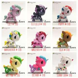 Tokidoki Neon Star Unicorno $18 each: Ms Pina Mermicorno, Octavia Mermicorno, Isla, Lily, Sunny Day, Margherita, Poppy, Magenta, DJ Lilla