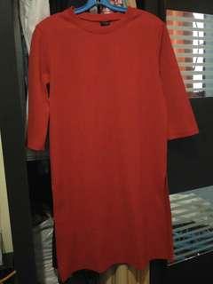 Slit maroon dress