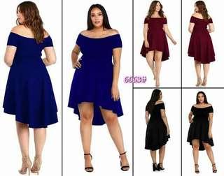 Plus size longback offshoulder dress