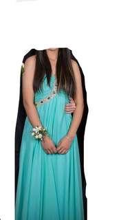 Sky blue silk ball dress