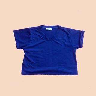 Basic Blue Cropped Top Shirt
