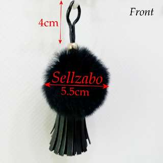 Black Furry Hang Bags Accessories Sellzabo Pom Pom Ball