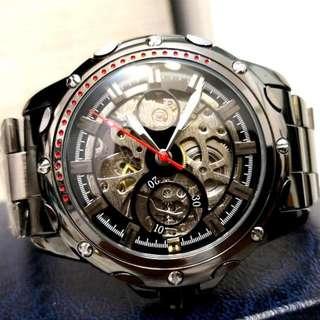 全自動黑鋼陀飛輪機械鋼帶手錶 Automatic Black Steel Tourbillon Mechanical Stainless Steel Watch