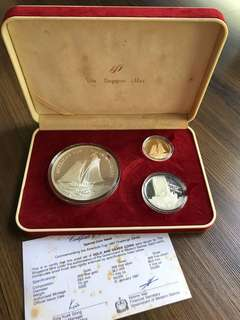 "S73 - Singapore Mint 1987 ""America's Cup"" Gold and Silver Proof Coin Set"