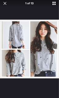Embroidery long sleeve shirt