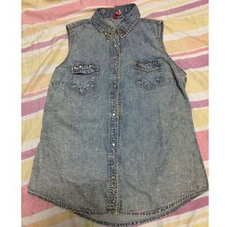 DENIM STYLE SLEEVELESS POLO