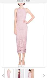 Doublewoot dusty pink crochet long dress