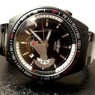 全自動黑鋼機械陀飛輪鋼帶手錶 Automatic Black Steel Mechanical Tourbillon Stainless Steel Watch