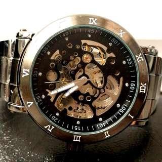 全自動黑鋼陀飛輪機械鋼帶手錶 Automatic Black Steel Tourbillon Mechanical Steel Watch