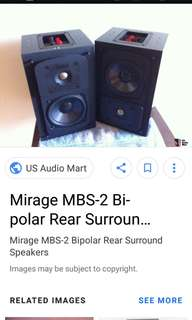 Mirage MBS BI-Polar speakers.Made in Canada.