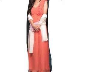 Orange/Red Floral strap Silk Ball Dress