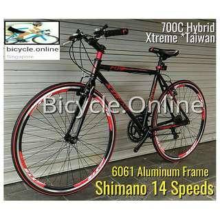 Xtreme Hybrid, 700C Road Bike ✩ full Shimano 14 Speeds ✩ High grade, High strength 6061 Aluminum frame ✩ light weight ✩ Brand new bicycle