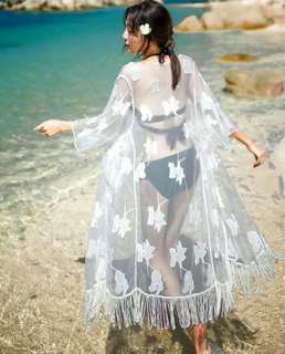 度假必備💓超美仙女長版罩衫泳衣外搭