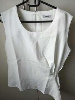 White Top (Front Detail Drape, Sleeveless, Round-Neck)