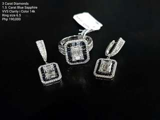 3carat Diamond Set 1.5ct Blue Sapphire