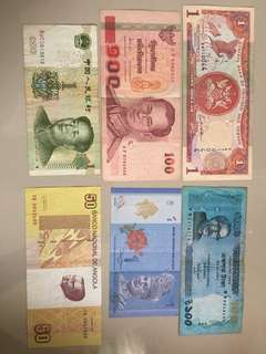 Foreign banknotes set of 6 pcs