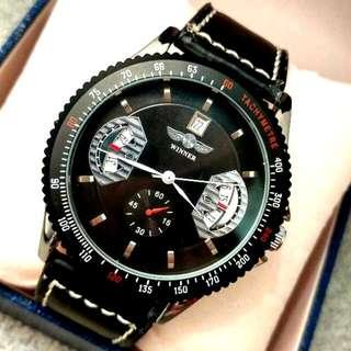全自動黑鋼機械陀飛輪日暦真皮手錶 Automatic Silver Steel Mechanical Tourbillon Calendar Genuine Leather Watch
