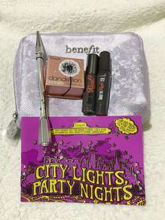 authentic benefit cosmetics city lights party nights set w/pouch