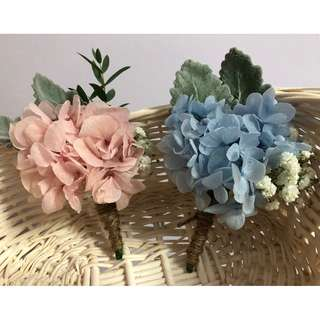 Preserved Hydrangea Corsages - Available in Blue & Pink (Minimum purchase of 4)