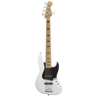 Squier Vintage Modified 5-String Jazz Bass Guitar, Maple FB, Olympic White