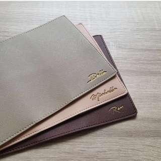 CUSTOM PASSPORT CASE saffiano leather
