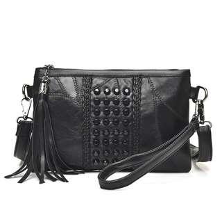 Hot buy .black Sling Bag ladies tassel genuine leather bag