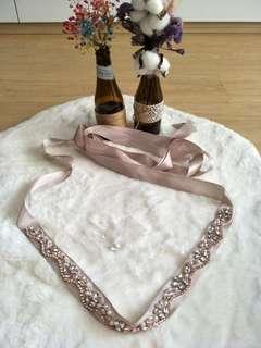 Embellished nude color satin gown belt