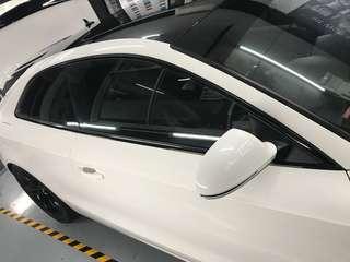 Audi a5 door frame dechrome to gloss black!!