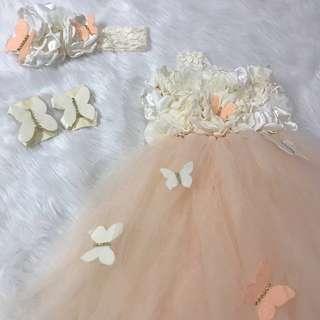 Light Peach Tutu Butterfly Dress set