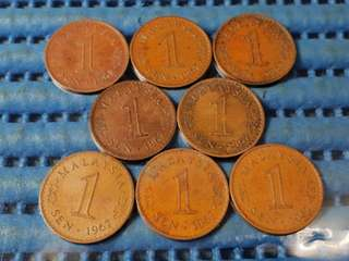 1967 Malaysia 1 Sen Coin ( Lot of 8 Pieces )