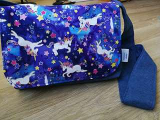 Handmade Reversible Kids Messenger Bag (Unicorn Cotton with Denim Fabric)