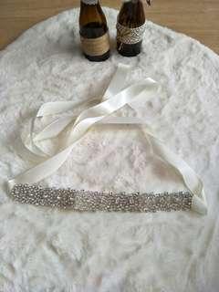 Crystal satin white gown belt