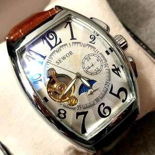 全自動機械銀鋼日月星晨陀飛輪真皮手錶Automatic Mechanical Silver Steel Sun and the Moon Tourbillon Genuine Leather Watch