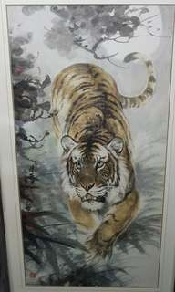 (月夜虎踪) Tiger Chinese Painting by Ong Boon Kong
