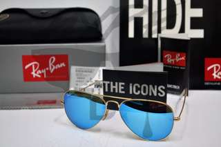 Authentic Ray Ban Aviator RB3025 112/17 58MM Blue Flash Mirror.