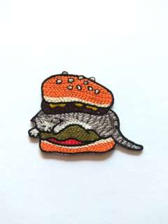Cute Cat Burger Woven Iron On Patch