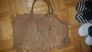 BNWT Leather Brown bag with tassels