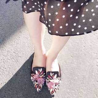 PO Embroidered Pointed Flats