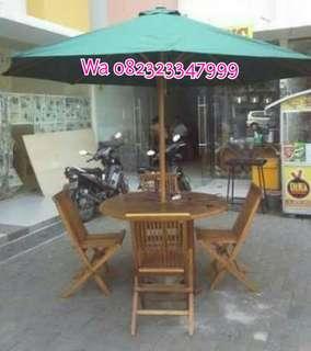 Meja payung taman jati, kain payung, kain tenda, meja cafe