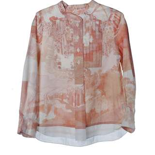 Chloe Garden printed Long Sleeve Top with front pleat and button