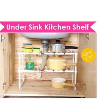 Multipurpose Expandable Stainless Steel Under Sink Shelf Kitchen Storage Rack