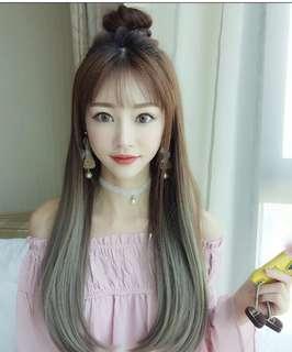 60cm淺啡漸變青木色U型半頂假髮