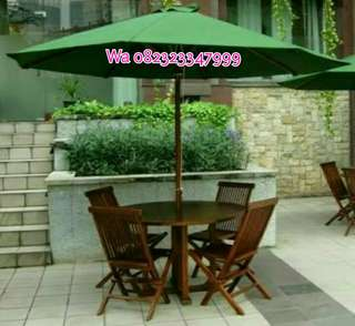 Meja payung taman, meja tenda taman, kursi taman jati,