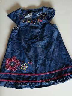 😃😃Princess Girl Handmade Embroidery Flower and Butterfly Jean Dress