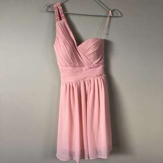 Baby pink one shoulder ball dress
