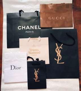 買一送一名牌紙袋 Chanel, Gucci, YSL