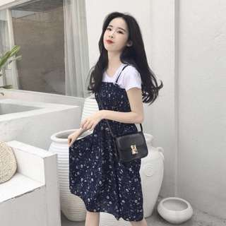 korean style floral chiffon long skirt + t shirt (two-piece set)