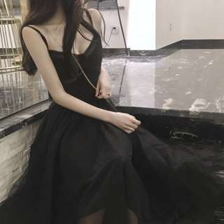 long ethereal black dress